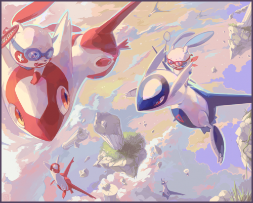 An epic flying battle... or these pokemon are just playing badminton!  By HeartGold