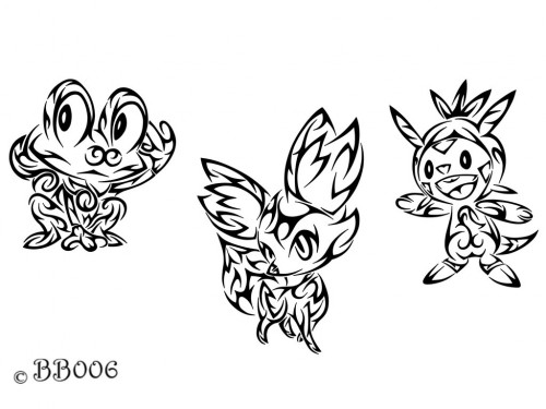 Tribal Starters Pokemon X Y by blackbutterfly006