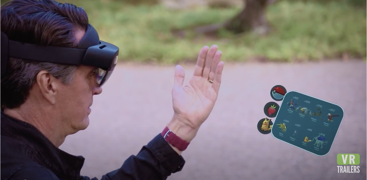 The HoloLens being used.