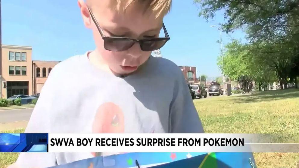 Boy sells Pokemon cards